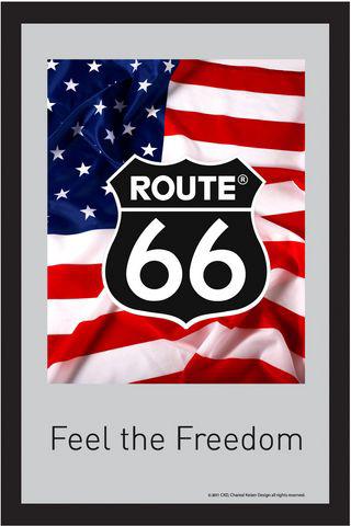 deko wandspiegel route 66 us flagge ca 22 x 32 cm. Black Bedroom Furniture Sets. Home Design Ideas