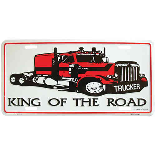 Booster Plate - Trucker - King of the Road, ca. 30 x 15 cm