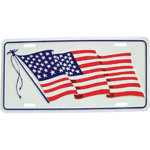 Booster Plate - US-Flagge, wehend am Mast, ca. 30 x 15 cm