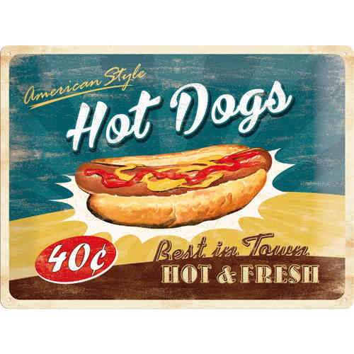 Blechschild - American Style Hot Dogs, ca. 40 x 30 cm