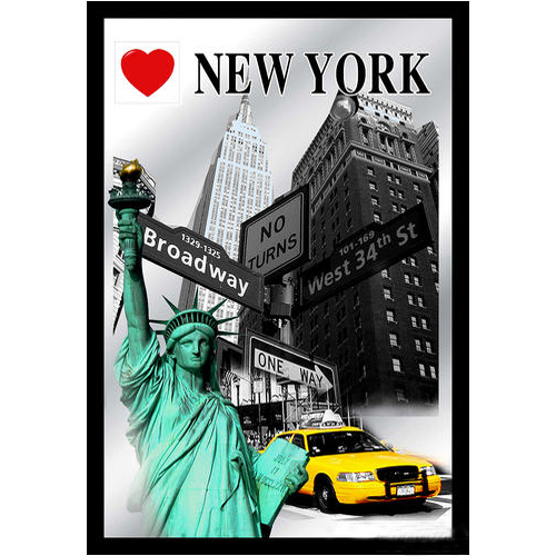 deko wandspiegel i love new york ca 22 x 32 cm us shop. Black Bedroom Furniture Sets. Home Design Ideas