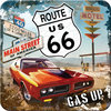 Metall-Untersetzer - Route 66 Red Car Gas Up, 9 x 9 cm