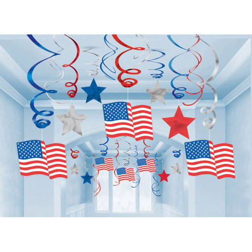 Swirl Hanging Decorations - USA-Flags & Stars, 30-teilig