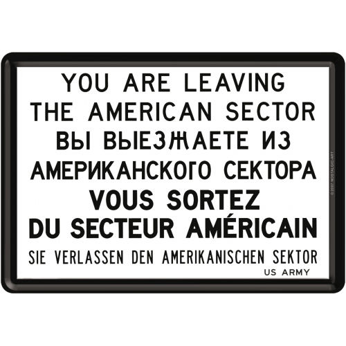 Blechpostkarte - You are leaving the American Sector, 14,5x 10 cm
