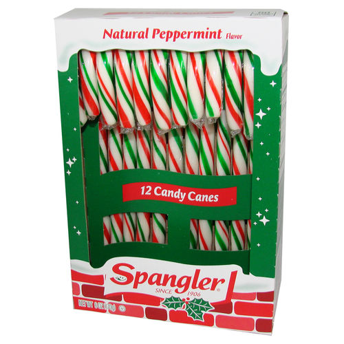 Spangler® Candy Canes Nat. PEPPERMINT rot/grün/weiß, 12 St., 170 g - best before 10. Dez. 18