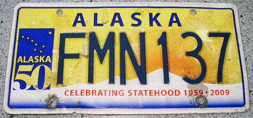 Original US-License Plate Alaska, gebraucht