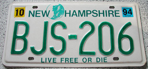 Original US-License Plate New Hampshire, gebraucht
