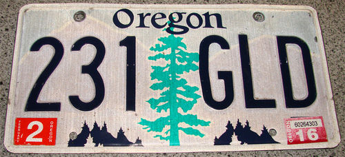 Original US-License Plate Oregon, gebraucht
