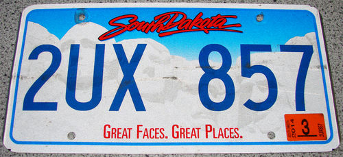 Original US-License Plate South Dakota, gebraucht