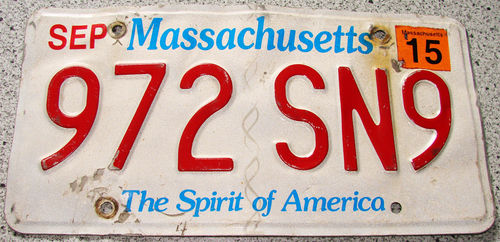 Original US-License Plate Massachusetts, gebraucht