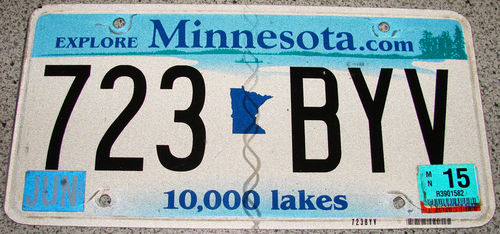 Original US-License Plate Minnesota, gebraucht