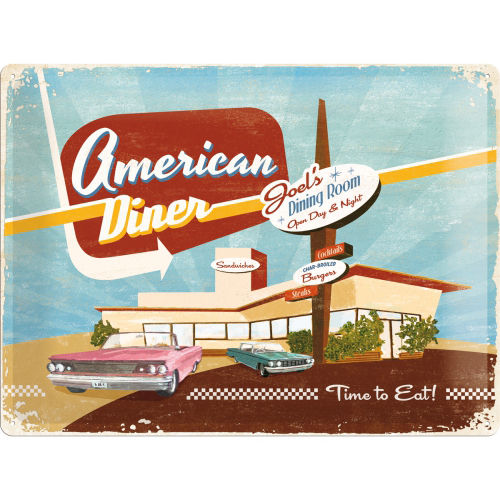 Blechschild - American Diner - Time to Eat! ca. 40x30 cm