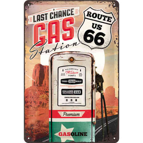 Blechschild - Route 66 Gas Station, ca. 20 x 30 cm