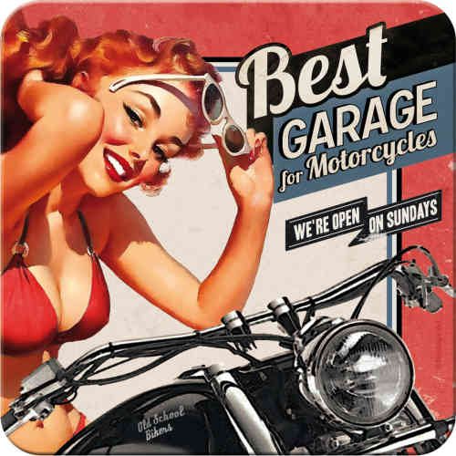 Metall-Untersetzer - Best Garage for Motorcycles, 9 x 9 cm, 5 St.