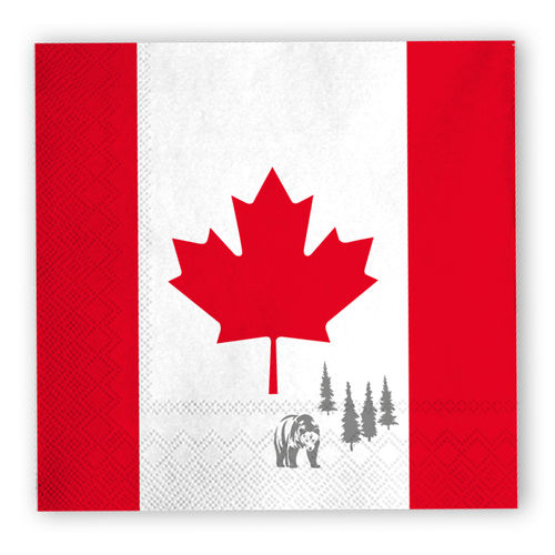 Lunch-Servietten CANADA - Maple Leaf Flag, ca. 33 x 33 cm, 20 St.