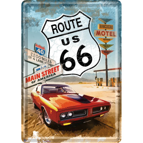 Blechpostkarte - Route 66® Red Car, ca. 10 x 14,5 cm