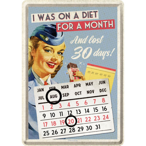 Blechpostkarte - Dauerkalender ON A DIET FOR..., ca. 10 x 14,5 cm